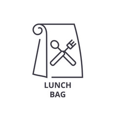 lunch bag line icon outline sign linear symbol vector image vector image