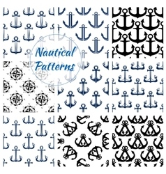 Nautical navy seamless patterns set vector image vector image