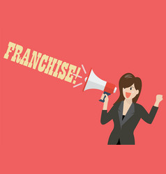 business woman holding a megaphone with word vector image vector image