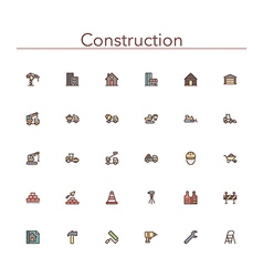 Construction Colored Line Icons vector image vector image