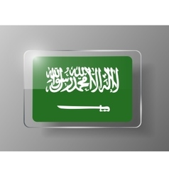 Saudi Arabia Flag Glossy Button vector image
