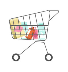 Supermarket cart with dairy products minimalistic vector