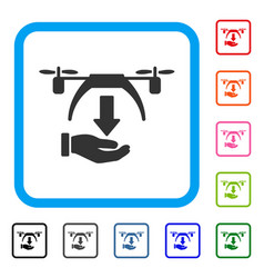 unload drone framed icon vector image vector image