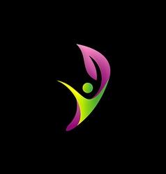 beauty happy leaf logo vector image vector image