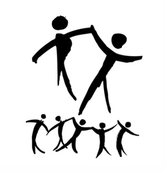 Dancing people hand drawn vector image