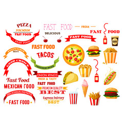 fast food meal isolated icons ribbons set vector image vector image