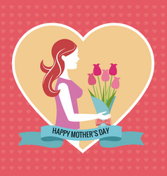 happy mothers day heart woman bouquet vector image vector image