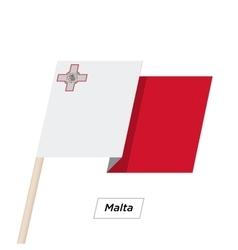 Malta Ribbon Waving Flag Isolated on White vector image vector image