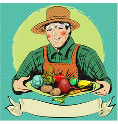 Pop art of happy farmer with vector