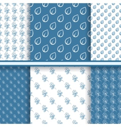 Set of seamless floral patterns in blue colors vector image vector image
