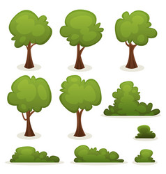 Trees hedges and bush set vector