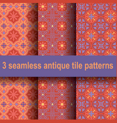 3 antique tile patterns vector image