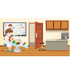 a boy visiting dentist vector image