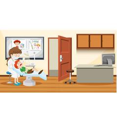 A boy visiting dentist vector
