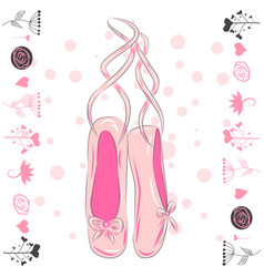 A pair well-worn ballet pointes shoes vector