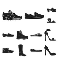a variety of shoes black icons in set collection vector image