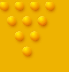 abstract spheres background 3d yellow balls vector image