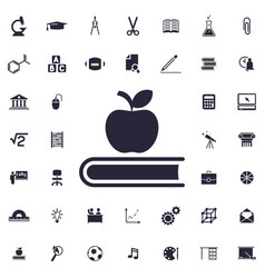 Apple on book icon vector