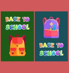 Back to school set of satchels vector