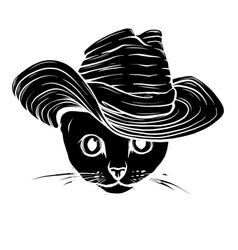 black silhouette head cat vector image