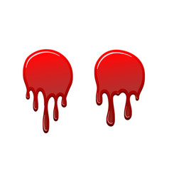 Blood drip 3d set drop blood isloated white vector