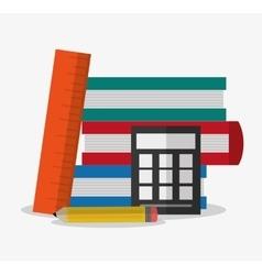 Books pencil ruler and calculator design vector