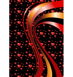 Bright curves on a black background with hearts vector image