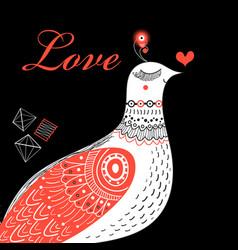 bright greeting card love birds vector image