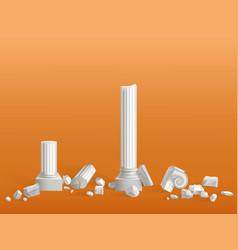 Broken on pieces ancient marble columns vector