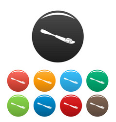 Butter on knife icons set color vector