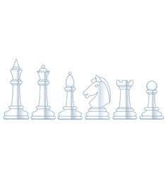 chess white set vector image