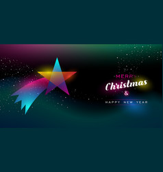 christmas and new year glow shooting star card vector image