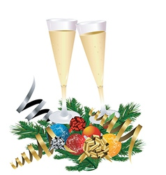 Christmas champagne vector