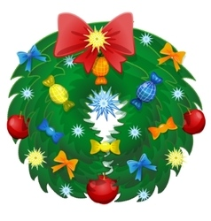 Christmas Wreath With Ribbons And Bow Isolated vector image