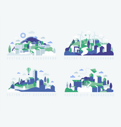 City landscape with buildings hills and trees vector