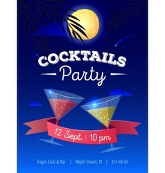 Cocktails party poster with night beach vector