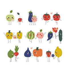 collection cute cheerful vegetables fruits and vector image