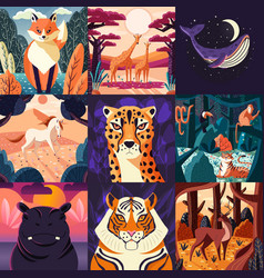 collection nine hand drawn animals vector image