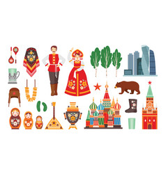 collection russian national costumes vector image