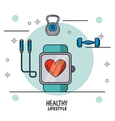 colorful poster of healthy lifestyle with clock vector image