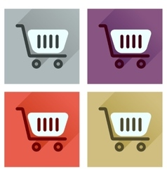 Concept of flat icons with long shadow shopping vector image