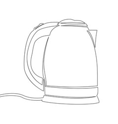 continuous line electric kettle concept vector image