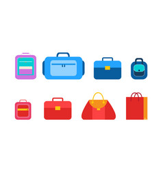 convenient bags and packages for students set vector image