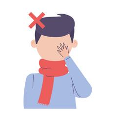 Covid 19 coronavirus sick man avoid touch your vector