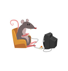 Cute grey mouse sitting on armchair and watching vector