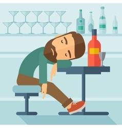 Drunk man fall asleep in the pub vector