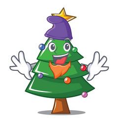 Elf christmas tree character cartoon vector