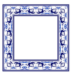 Empty square frame with blue ethnic floral vector