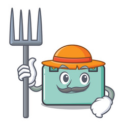 Farmer suitcase character cartoon style vector