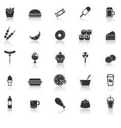 fast food icons with reflect on white background vector image